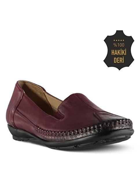 Marjin % 100 Deri Düz Ayakkabı Bordo